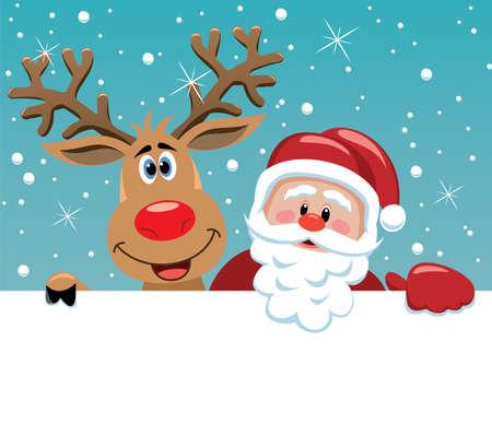 Kerst illustratie van de Kerstman en Rudolph herten