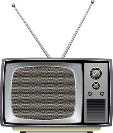 Retro tv set with static on screen Vector