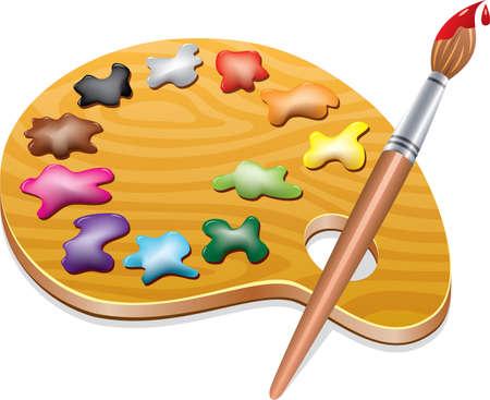 tavolozza pittore: Arte tavolozza di legno con macchie di vernice e un pennello Vettoriali