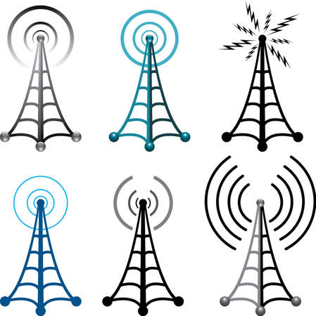 Design of radio tower symbols Stock Vector - 11086202