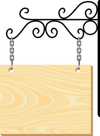 uithangbord: Houten uithangbord en metalen versiering