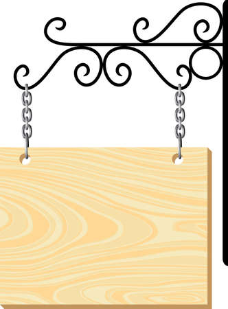 empty sign: Wooden signboard and metal decoration Illustration