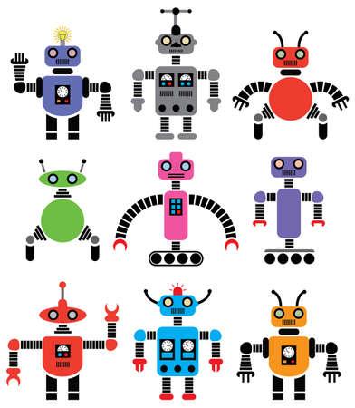 sensores: conjunto de robots de diferentes formas y colores