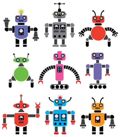 retro robot: set of robots of various shapes and colors Illustration