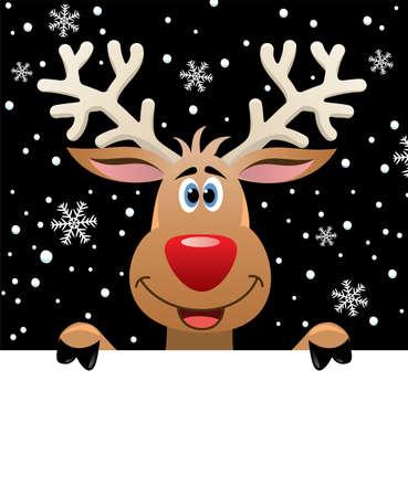 reindeer: Navidad ilustración de ciervo Rudolph sosteniendo el papel en blanco para el texto