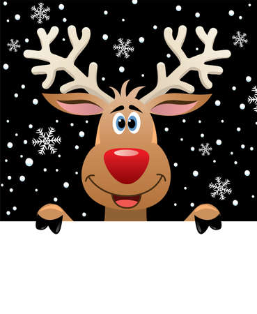 cartoon reindeer: xmas illustration of rudolph deer holding blank paper for your text Illustration