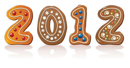vector illustration of new year gingerbread cookies Vector
