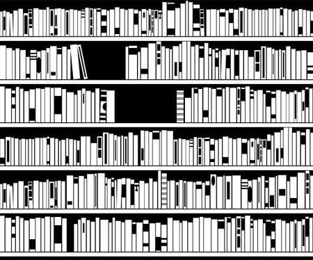 in library: vector illustration of black and white modern bookshelf