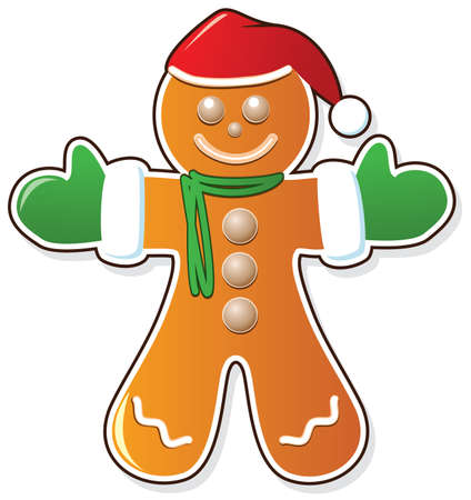 gingerbread man: vector gingerbread cookie in santas claus hat and mittens