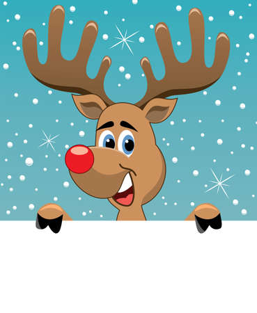 rudolph the red nose reindeer: vector christmas illustration of rudolph deer holding blank paper for your text