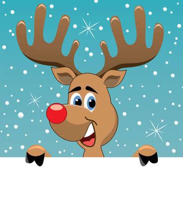 animal nose: vector de Navidad ilustraci�n de rudolph venado sosteniendo el papel en blanco para el texto