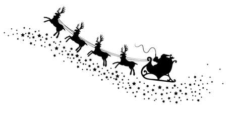 vector holiday illustration of santa and deers Vector