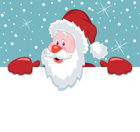 copy: vector christmas illustration of santa claus holding blank paper for your text