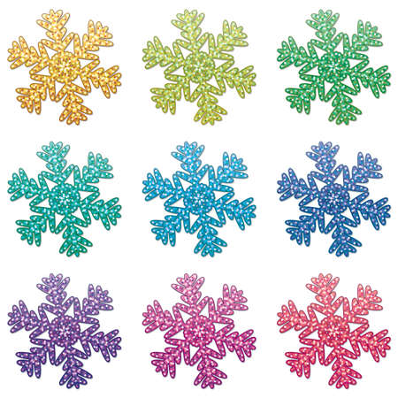 natal: vector set of colorful snowflakes Illustration
