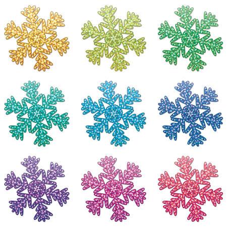 snowflake set: vector set of colorful snowflakes Illustration