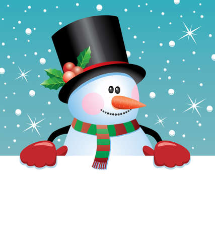 vector christmas illustration of snowman holding blank paper for your text Vector