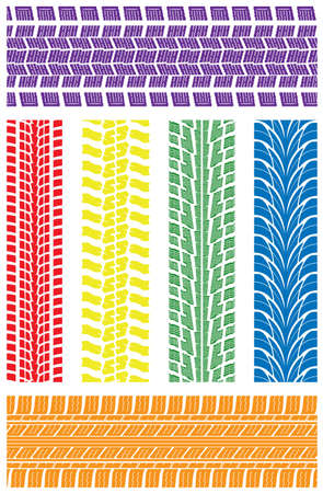 tread: vector set of detailed tire prints Illustration