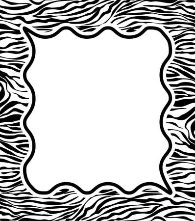 zebra skin: vector frame with abstract zebra skin texture and copy-space