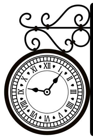 reloj antiguo: ilustración vectorial de la calle del reloj retro