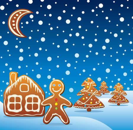 galleta de jengibre: ilustración vectorial de vacaciones de galletas de jengibre Vectores
