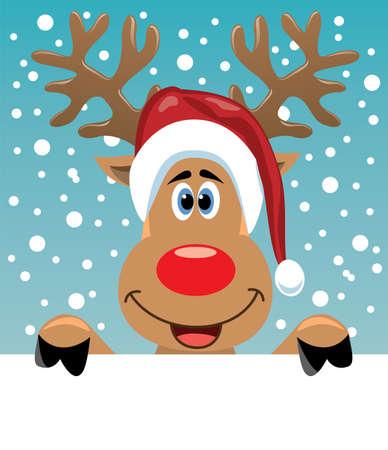 reindeer: vector de Navidad ilustraci�n de rudolph venado sosteniendo el papel en blanco para el texto