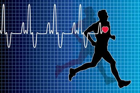 electrocardiograma: vector electrocardiograma latido del coraz�n y hombre corriendo Vectores