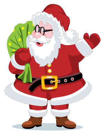 vector christmas illustration of santa claus with a sack Illustration
