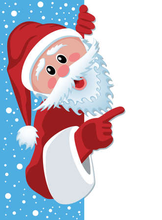 snow cap: vector christmas illustration of santa claus holding blank paper for your text