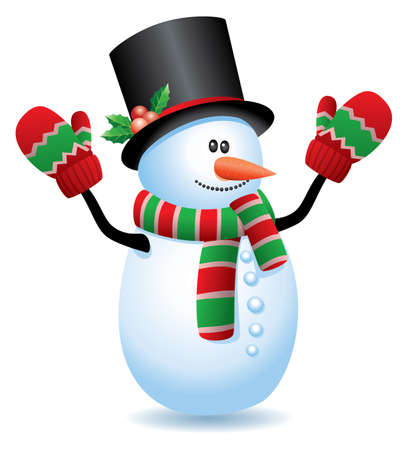 mitten: vector illustration of snowman