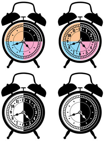 vector set of retro alarm clocks. Time of the day concept. Vector