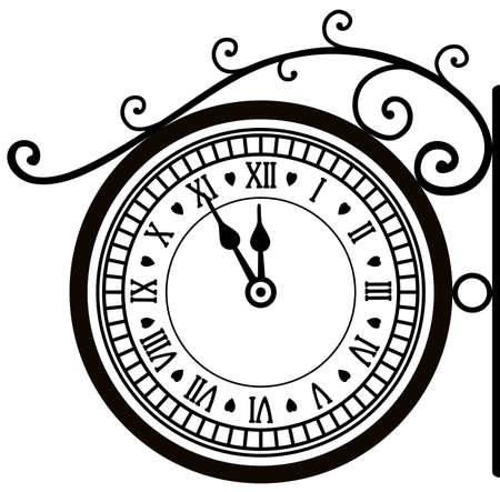 horloge ancienne: vecteur de r�tro rue horloge