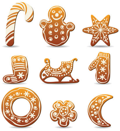 sledge: vector set of winter holiday gingerbread cookies Illustration
