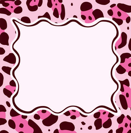 brown skin: vector frame with abstract leopard skin texture and copy-space