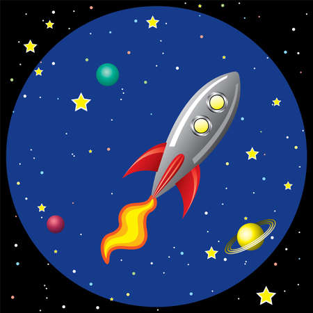 vector stylized retro rocket ship in space Vector