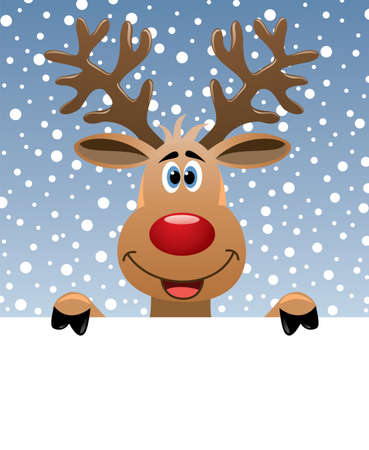 vector christmas illustration of rudolph deer holding blank paper for your text