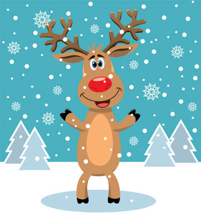 standing on white background: vector christmas illustration of red nosed reindeer