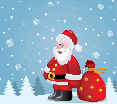 vector christmas illustration of santa claus with big sack Vector