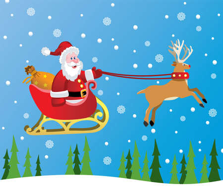 vector christmas holiday background with santa claus and red nosed reindeer Stock Vector - 11464016