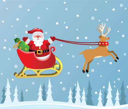 christmas sleigh: vector christmas holiday background with santa claus and red nosed reindeer