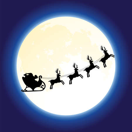 santas reindeer: vector christmas holiday background with santa claus and deers flying in front of the moon