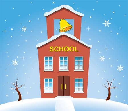 vector illustratie van land schoolgebouw in de winter
