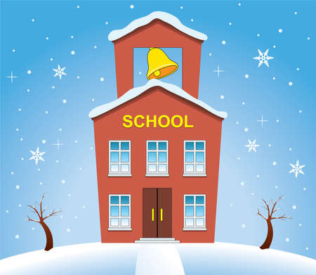 door bell: vector illustration of country school house in winter