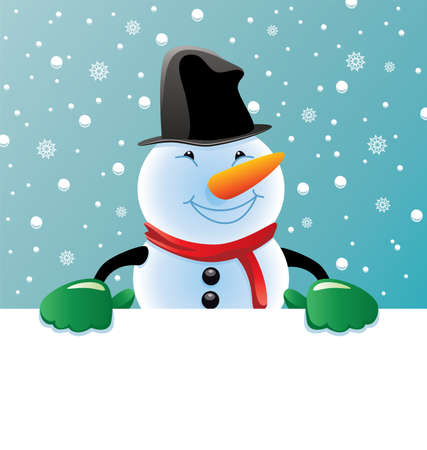 vector christmas illustration of snowman holding blank paper for your text Stock Vector - 11463993