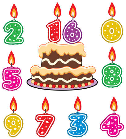 orange cake: vector illustration of birthday candles and chocolate cake
