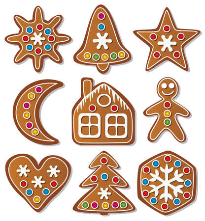 gingerbread man: vector set of gingerbread cookies Illustration