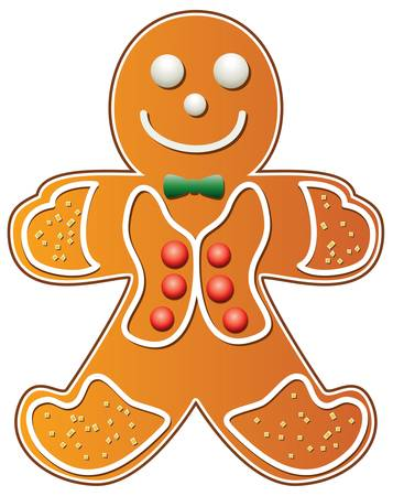 vector illustration of gingerbread cookie man
