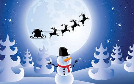 Vector Weihnachten Urlaub Hintergrund mit Santa Claus, Bäume und Schneemann