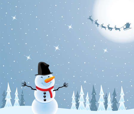vector christmas illustration of happy snowman and flying santa claus and deers Vector