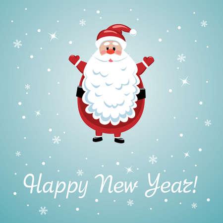new year's cap: vector xmas illustration of santa with big beard