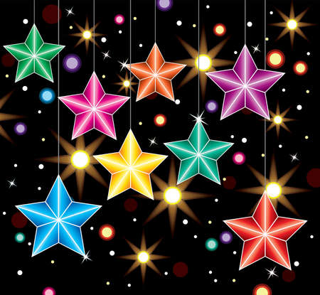 hangings: vector winter holiday decoration with colorful stars and lights